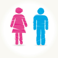 Colored male and female sign vector