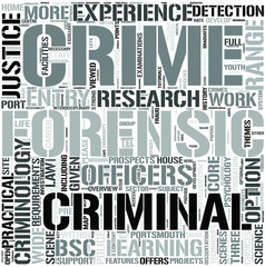 Criminology and ForensicStudies Word Cloud Concept