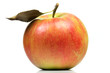 canvas print picture - Apfel mit Blatt