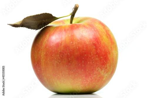 canvas print picture Apfel mit Blatt