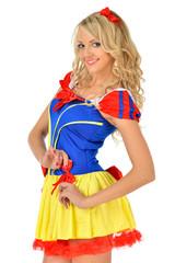 Beautiful blonde woman in mascarade snow white dress.