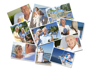Happy Retired Senior Couples Montage Romantic Vacation