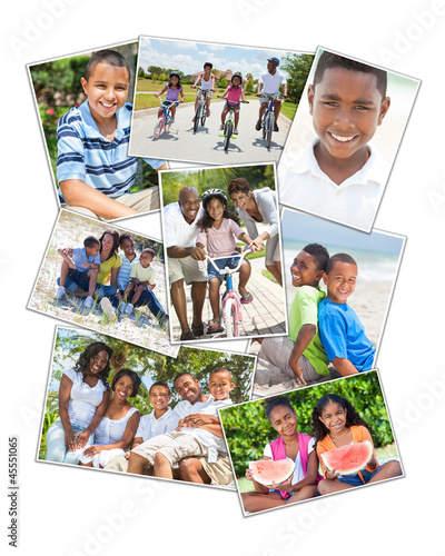 African American Families Montage Outside Summer