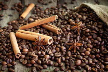 Coffee beans cinnamon and anise vintage still life