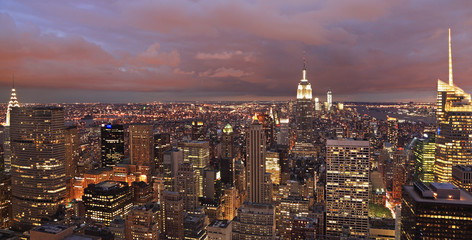 New York skyline at a purple dusk, panoramic view