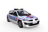 Véhicule de police isolé sur fond blanc