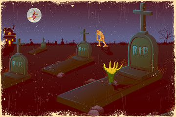 Halloween Night in Graveyard