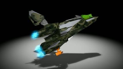 Futuristic space super fighter, camouflaged, alpha matte