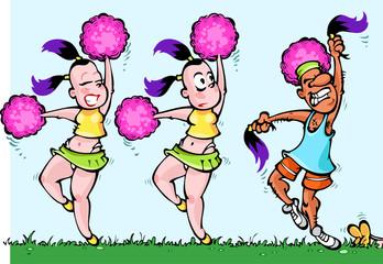 Dancing Cheerleaders Girls and one Sport Man