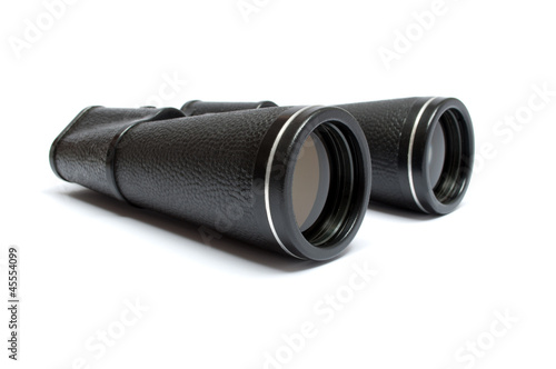 Big black binoculars isolated on white background