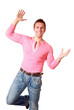 Happy guy making cheerful gesture