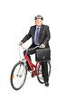 Mature businessman with briefcase on a bicycle