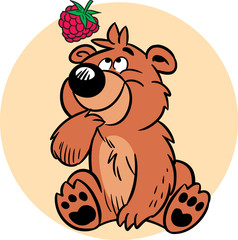 Bear with raspberries