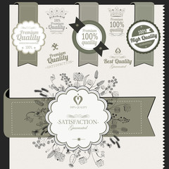 Vintage premium quality labels and signs