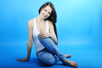 Beautiful graceful girl brunette with long hair