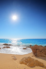 Sun and sea on a sandy beach of Porto Katsiki on Lefkada,