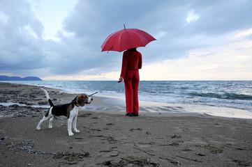 Passeggiata con il cane sulla spiaggia sotto la pioggia