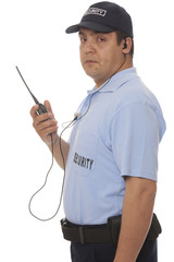 Security guard hand holding cb walkie-talkie radio