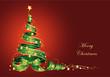 Tannenbaum aus Geschenkschleife und Sterne