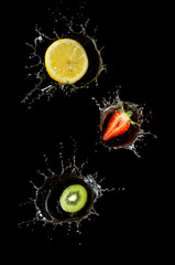 fruit in water splach