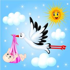 nursery frame for photo stork and cloud