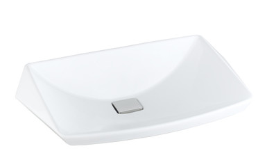 Washbasin made of ceramic isolates on white background