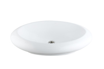 Washbasin made of ceramic or porcelain on white background
