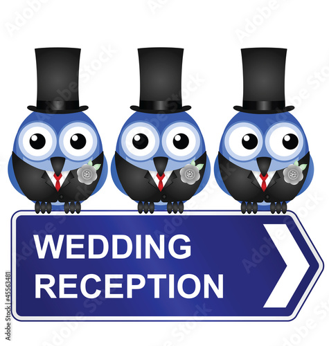 Comical wedding reception sign