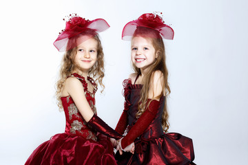 Little girls in beautiful dress