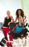 Happy women at the gym