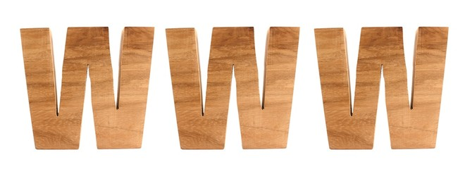 WWW text animation with wooden letters version 1