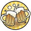 Two beer mug sign, vector illustration
