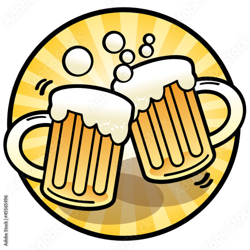 Two beer mug sign, vector illustration