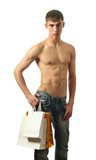 Young Sexy Man with Copy Space Shopping Bags