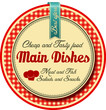 Main dishes label