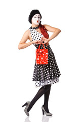 Pretty mime woman holding red shopping bag