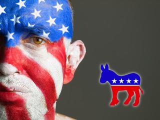 Man face flag USA, sad expression, democrat symbol.
