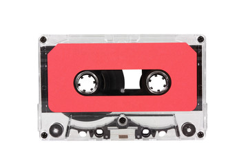 Vintage Red Audio Cassette with Clipping Path