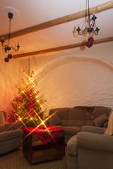 Living room and shiny christmas tree