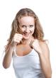 joyful woman fights
