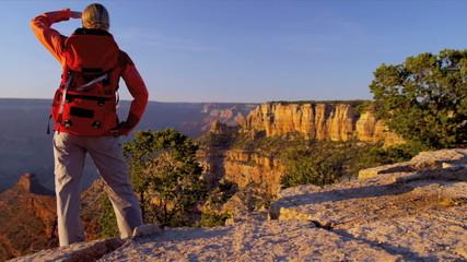 Hiker enjoying Canyon landscape