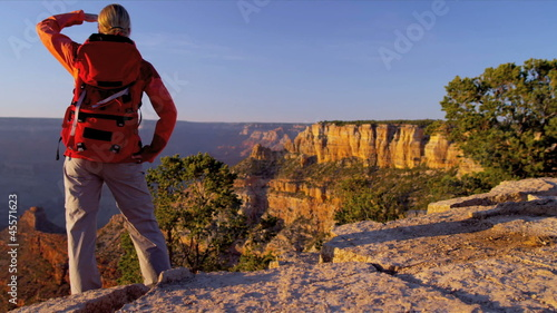 Hiker enjoying Canyon landscape