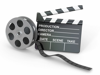 Movie industry. Clapperboard and film reel.