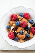 Granola with fresh fruits and almonds