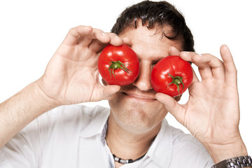 tomatoes covering the eyes