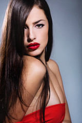 long hair woman with red lips