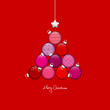 Abstract Christmas Tree Balls Pattern Red/Pink Silver