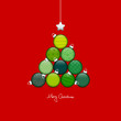 Abstract Christmas Tree Balls Pattern Green/Red Silver