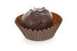 Gourmet chocolate truffle isolated on white background