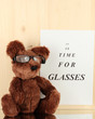 Eyesight test chart with glasses and with toy